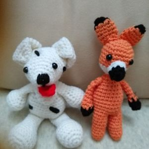 Baby fox and a dog, a cat keychains or a friend's